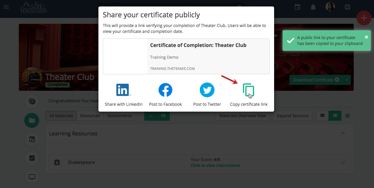 Teamie Nembus (2.13) - certificate link sharing