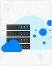 Illustration with servers in the cloud and connected circles