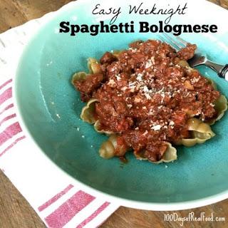 Easy Weeknight Spaghetti Bolognese.