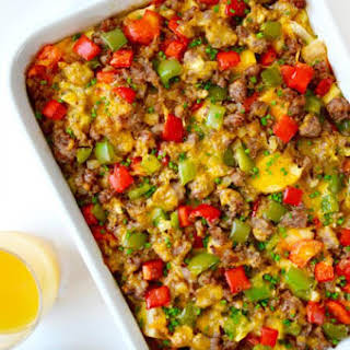 Overnight Egg Casserole with Breakfast Sausage.