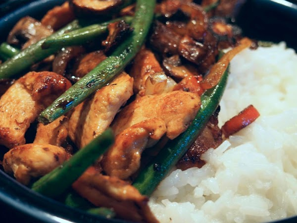 Japanese Chicken, Beans And Mushrooms With Rice Recipe