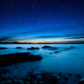 Into the blue  by Davor Strenja - Landscapes Beaches ( blue, summer, night, beach, landscape, zadar )
