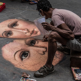 Street Artist in Florence by Doug Faraday-Reeves - People Street & Candids ( sidewalk, pavement, artist, florence )