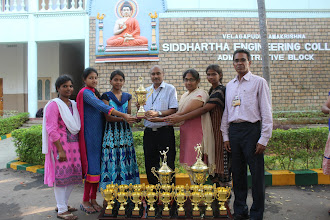 Photo: DR AV RATNAPRASAD PRINCIPAL WITH JNTUK WOMEN TABLE TENNIS WINNERS 2015-16 TEAM PLAYERS