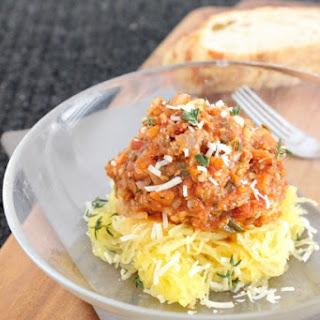 Spaghetti Squash with a turkey spaghetti sauce