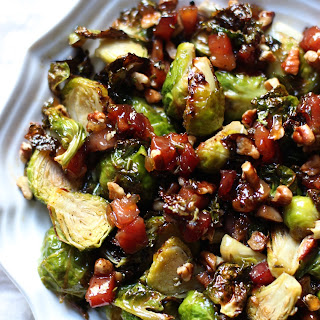 Roasted Brussels Sprouts with glazed pancetta and pecans.