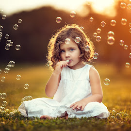 Bubbles by Joseph Kaminski - Babies & Children Child Portraits ( children, sunlight, portrait, portraiture, child, magnificent, gorgeous, sunset, magical, summer, adorable, surreal, golden hour )
