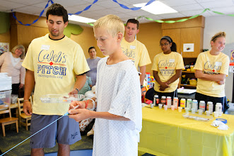Photo: University of Missouri Children's Hospital patients participate in syringe painting with MU athletes as part of the Caleb's Pitch program at University of Missouri Children's Hospital.