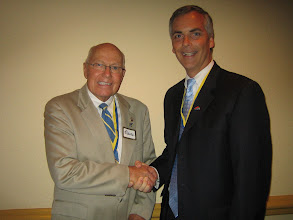 Photo: Blaine congratulating Joe on a job well done for the 2008-2009 Rotary Year - June 6, 2009 at the Best Western Deltona Inn