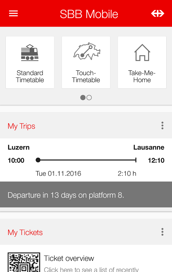 SBB Mobile: screenshot