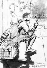 Photo: 賽神仙2012.09.22鋼筆 炊場這位雜役忙碌完後一身被汗溼透了,原本疲憊的表情就在點菸的剎那換為一臉幸福,我想吸菸對收容人來說除了一種習慣之外,或許也是苦悶的牢獄生涯的一種舒解吧!