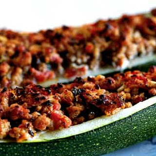 Stuffed Zucchini with Turkey Sausage.