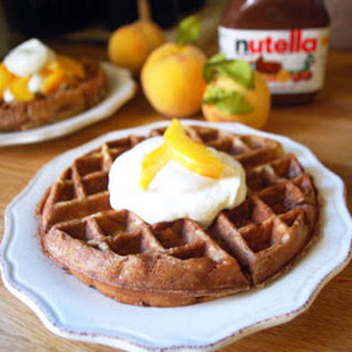 Nutella Waffles with Peaches n Cream
