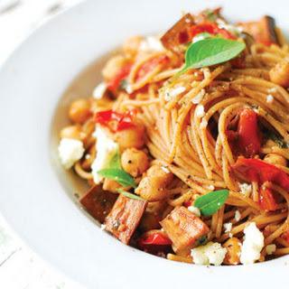 Spaghetti alla Melanzane with Tomatoes & Chickpeas