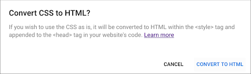 Convert CSS to HTML dialog.