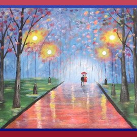 Lovers Lane by LC Collins - Painting All Painting ( couple, painting, umbrella, reflections, street, grass, trees, lights, landscape, arcylic )