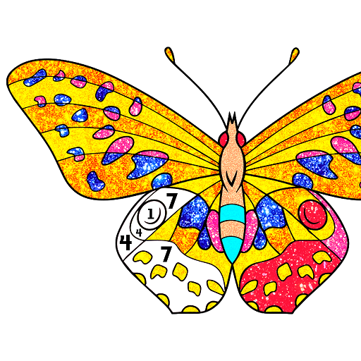Butterfly Glitter Color by Number: Animal Coloring Icon