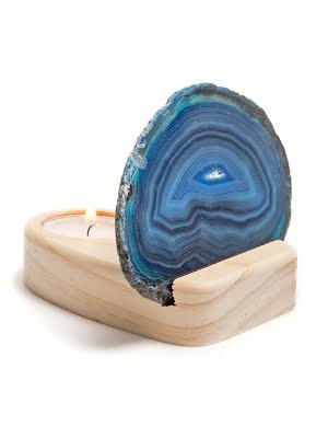 Ljuslykta, agatskiva blå och hållare i trä