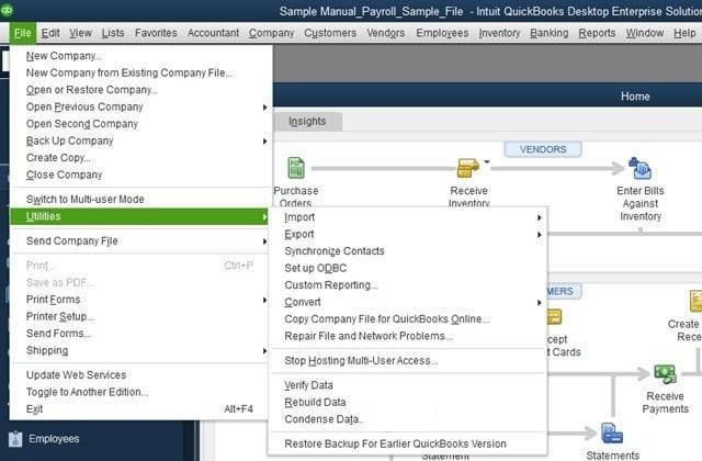 Navigate Utilities Option - Screenshot Image