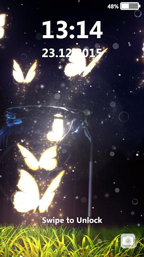 蝶ネオン ロック画面