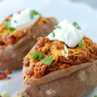 Turkey Chili Stuffed Sweet Potatoes.