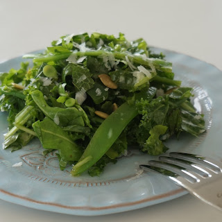 Kale and Arugula Salad with Mint and Jalapeño in a Parmesan Vinaigrette