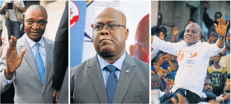 Former DRC interior minister Emmanuel Ramanzi Shadary, left, Felix Tshisekedi, centre, leader of Congolese main opposition Union for Democracy and Social Progress party, and DRC joint opposition presidential candidate Martin Fayulu.