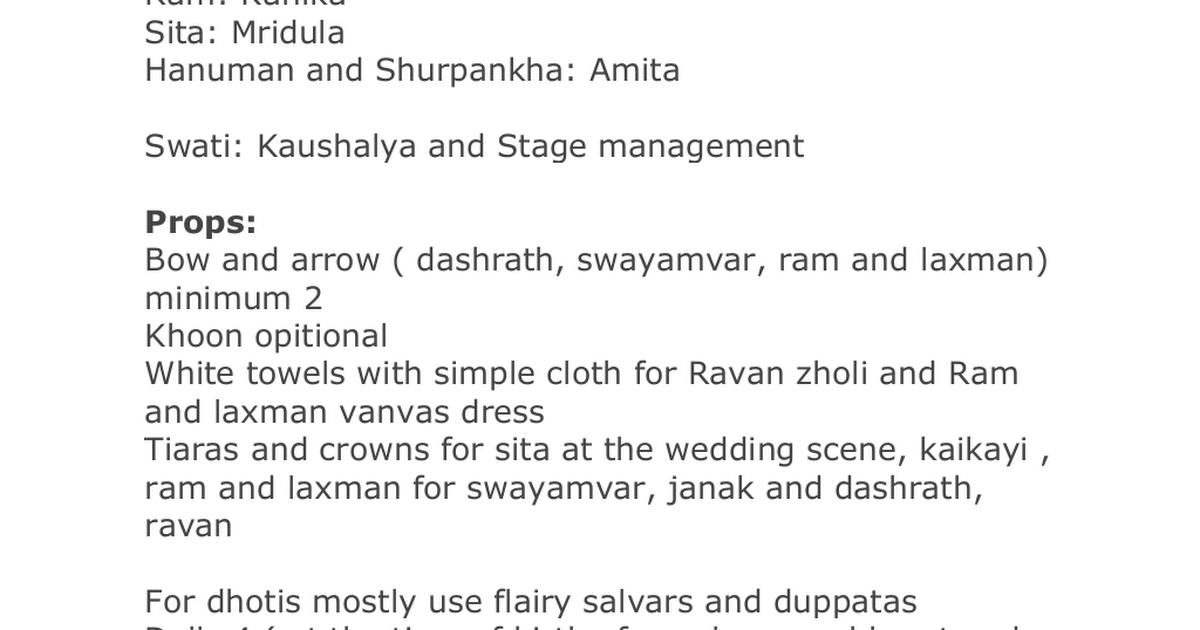 ramayana script