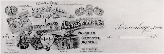 Photo: 1912 Briefhoofd Conservenfabrieken opgericht in 1903 te Princenhage' aan de Haagweg van de familie Henkes.