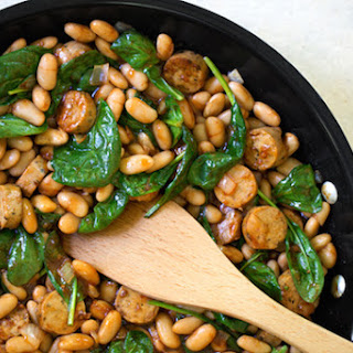 BBQ-Flavored White Beans with Sausage and Spinach.