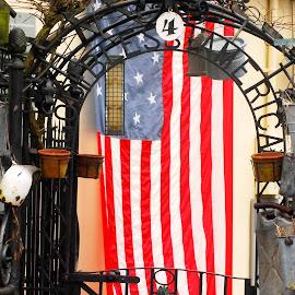 God Bless America by Peggy LaFlesh - City,  Street & Park  Neighborhoods ( flag,  )