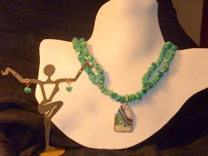 Photo: <BEREHYNYA> {Great Goddess Protectress} unique one-of-a-kind statement jewellery by Luba Bilash ART & ADORNMENT  MEDITERRANA – МЕДІТЕРАНА - copper enamel pendant, amazonite, rose gold vermeil SOLD/ПРОДАНИЙ