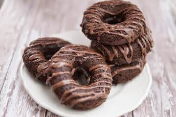 Baked Chocolate Buttermilk Donuts with Chocolate Coffee Glaze
