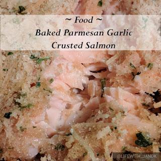 Baked Parmesan Garlic Crusted Salmon.