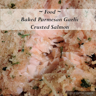 Baked Parmesan Garlic Crusted Salmon.