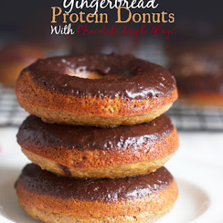 Gingerbread Protein Donuts with Chocolate Maple Glaze.