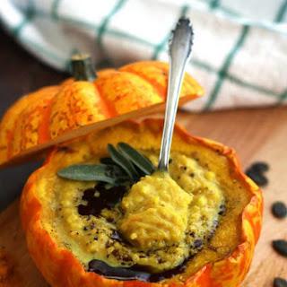 Easy Pumpkin Soup with Millet in Pumpkin Bowls.