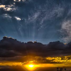 The gold sky by Aleksei Musikhin - Digital Art Places ( sky, mexico, suburban, nature, light, clouds, rays, sun )