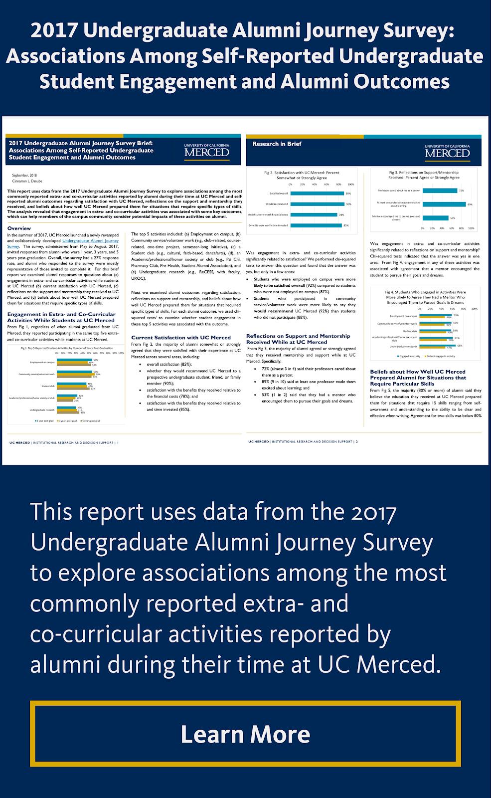 2017 Undergraduate Alumni Journey Survey: Associations Among Self-Reported Undergraduate Student Engagement and Alumni Outcomes