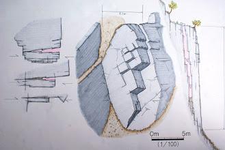Photo: 浮石の正面図・鳥瞰図と、水平・垂直断面図