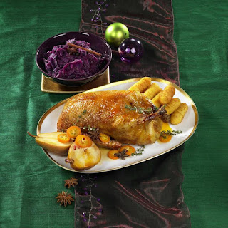 Roast Duck, Mulled Red Cabbage and Roast Potatoes