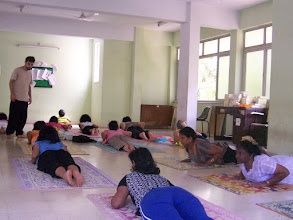 Photo: 1 Month YTT Course - Batch of May 2008 - Daniel Fonseca conducting Asana's Class (students performing Bhujangasana).