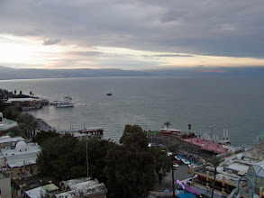 Photo: A view from our hotel balcony at Tiberias on the Sea of Galilee