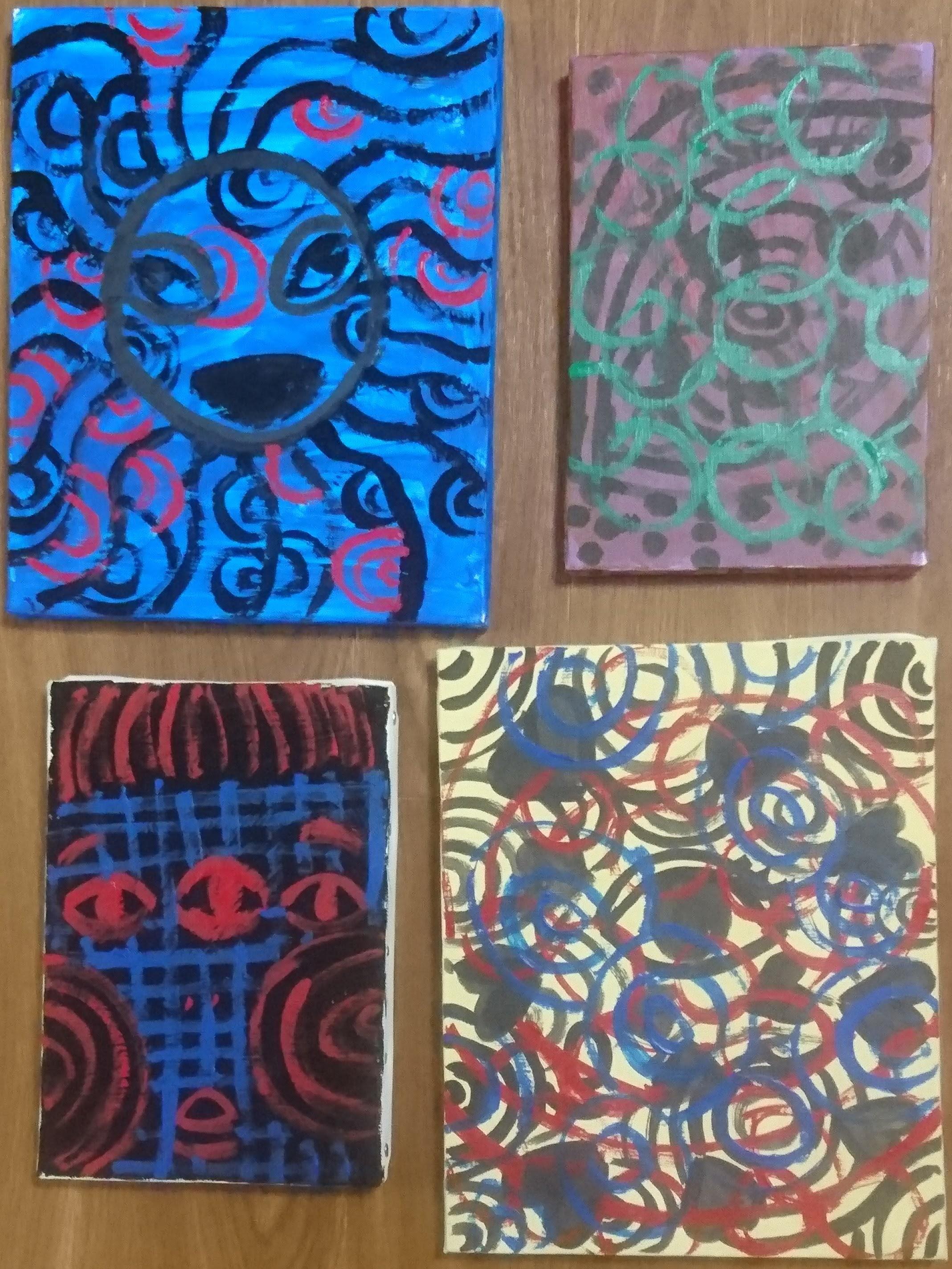 [水の中の太陽] [目は口ほどに…] [並列三つ目] [どこを見ても必ず浮かんでいる] - 伊藤洋子の美術