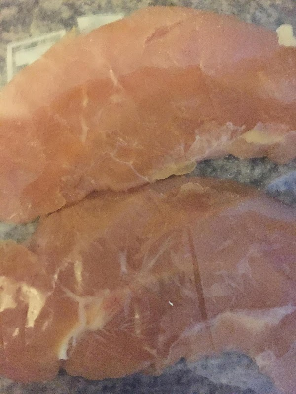 Pound chicken to about 1/4 inch thick,and cut in to 2-3 inch pieces.  Combine...