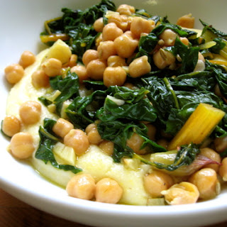 Garlic-Roasted Garbanzo Beans & Swiss Chard over Polenta