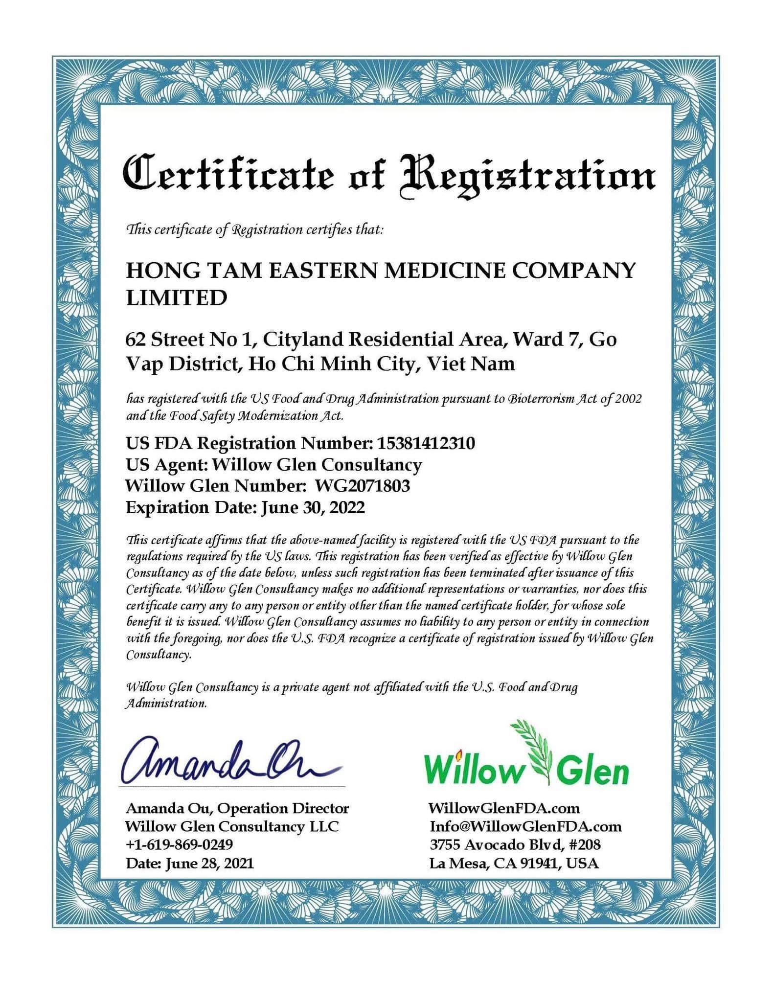 Giấy chứng nhận FDA của Hoa Kỳ