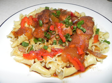 Country Style Ribs Over Campanelle Noodles Recipe