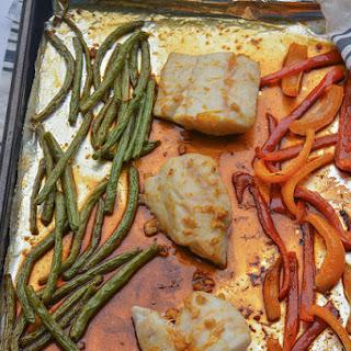 Sheet Pan Orange Ginger Glazed Cod and Vegetables Meal.