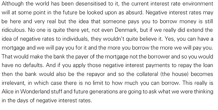equity investment manager provides his views on negative interest rates in a deflationary environment